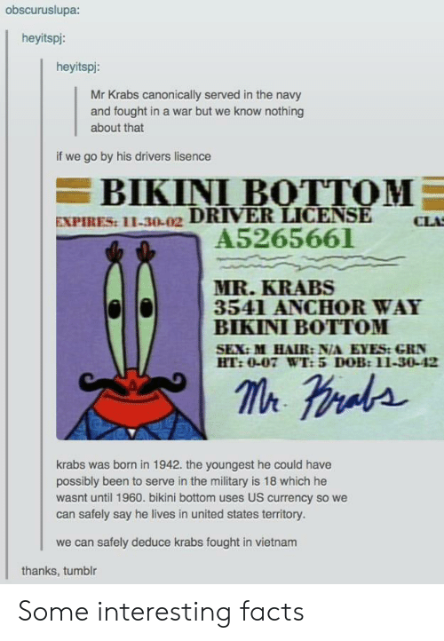 Vietnam: obscuruslupa:  heyitspi:  heyitspi:  Mr Krabs canonically served in the navy  and fought in a war but we know nothing  about that  if we go by his drivers lisence  BIKINI BOTTOM  EXPIRES: 11-30-02 DRIVER LICENSE  A5265661  CLA  MR.KRABS  3541 ANCHOR WAY  BIKINI BOTTOM  SEX:M HAIR: N/A EYES:GRN  HT:0-07 WT: 5 DOB:11-30-42  krabs was brnin 1942. the youngest he could have  possibly been to serve in the military is 18 which he  wasnt until 1960. bikini bottom uses US currency so we  can safely say he lives in united states territory.  we can safely deduce krabs fought in vietnam  thanks, tumblr Some interesting facts