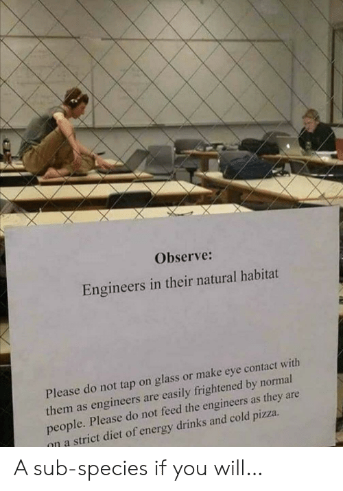 Energy, Pizza, and Diet: Observe:  Engineers in their natural habitat  Please do not tap on glass or make eye contact with  them as engineers are easily frightened by normal  people. Please do not feed the engineers as they are  on a strict diet of energy drinks and cold pizza A sub-species if you will…