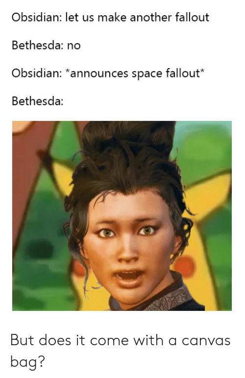 Canvas, Fallout, and Space: Obsidian: let us make another fallout  Bethesda: no  Obsidian: *announces space fallout*  Bethesda: But does it come with a canvas bag?