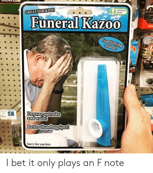I Bet, Reddit, and Sorry: obvious  plant  GREAT FORKIDS!  Funeral Kazo0  Comforting  sound!  Drowns out sobs  and wails!  13.99  Better than bagpipes!  Sorry for you loss I bet it only plays an F note