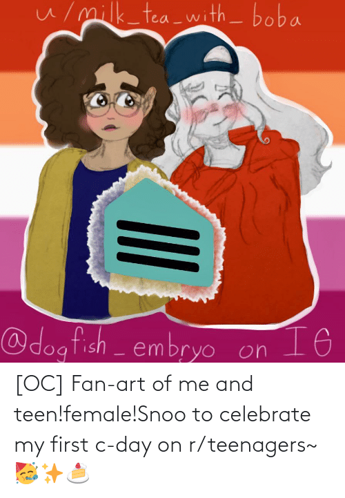 snoo: [OC] Fan-art of me and teen!female!Snoo to celebrate my first c-day on r/teenagers~ 🥳✨🍰