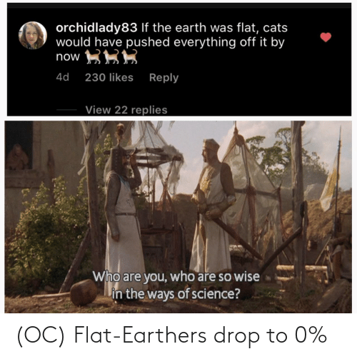 drop: (OC) Flat-Earthers drop to 0%