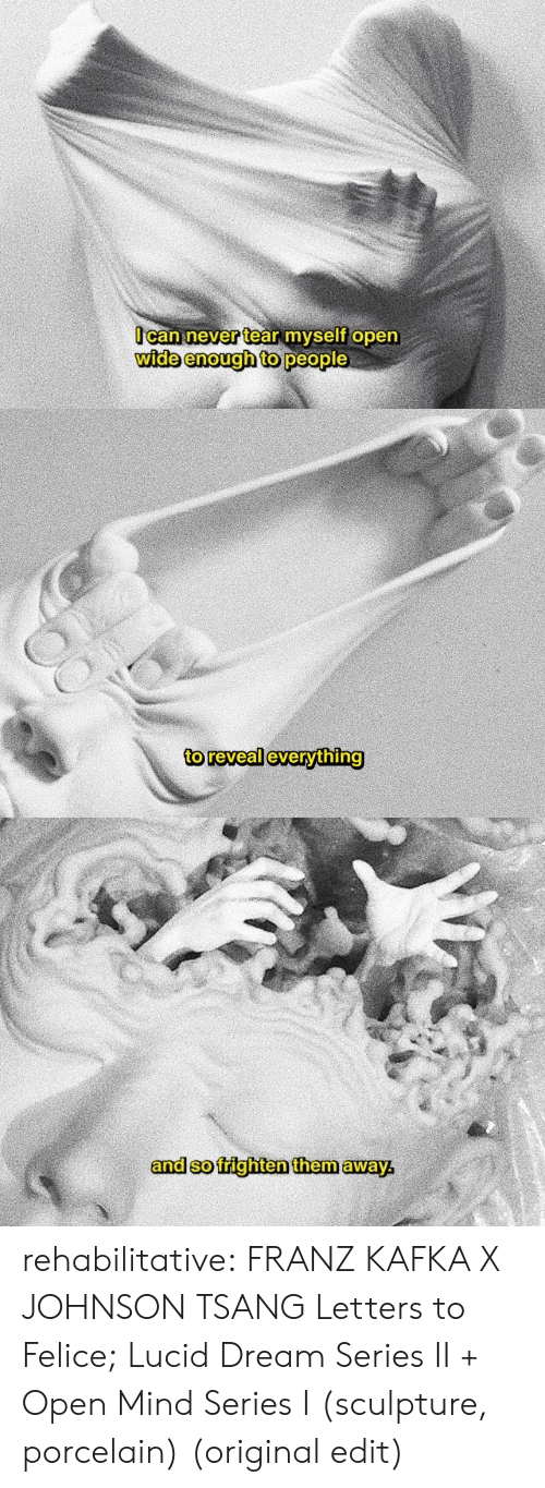 Sculpture: Ocan never tear myself open  wide enough to people   to reveal everything   and so frighten them away rehabilitative:  FRANZ KAFKA X JOHNSON TSANG  Letters to Felice;  Lucid Dream Series II + Open Mind Series I (sculpture, porcelain)  (original edit)
