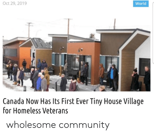 Homeless: Oct 29, 2019  World  Canada Now Has Its First Ever Tiny House Village  for Homeless Veterans wholesome community