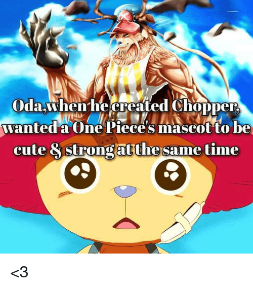 one piec: Oda When he created Chopper  wanted a One Pieces mascot to be  cute & strongatthe same time <3