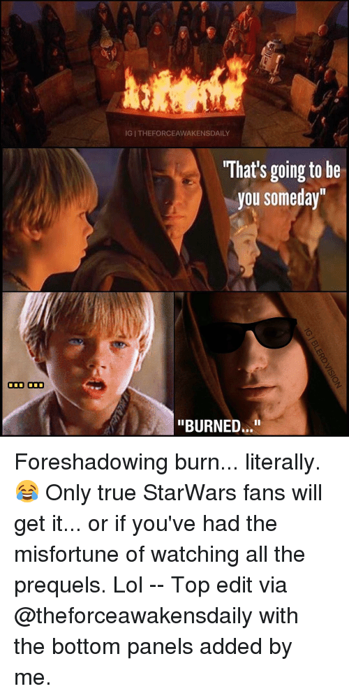 "Memes, 🤖, and Starwars: ODD ODD  IGI THEFORCEAWAKENSDAILY  What's going to be  you someday""  ""BURNED..."" Foreshadowing burn... literally. 😂 Only true StarWars fans will get it... or if you've had the misfortune of watching all the prequels. Lol -- Top edit via @theforceawakensdaily with the bottom panels added by me."