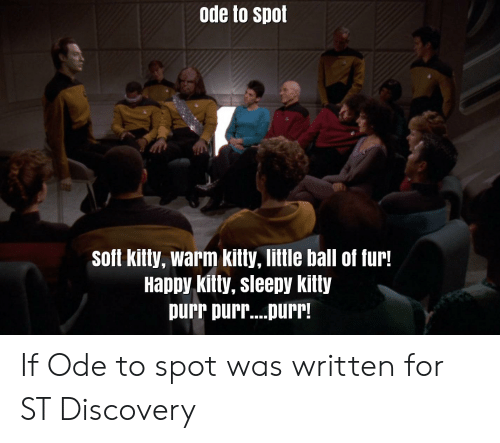 Star Trek, Happy, and Discovery: ode to spot  soft kitty, warm kitty, little ball of fur!  Happy kitty, sleepy kitty  purr purr....purr! If Ode to spot was written for ST Discovery