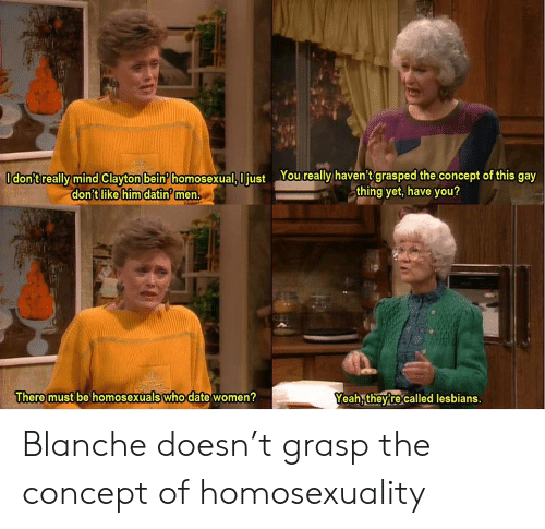 homosexual: Odon'treally mind Clayton bein homosexual, I just Youreally haven't grasped the concept of this gay  thing yet, have you?  don't like him datin men.  There must be homosexuals who date women?  Yeah, theyre called lesbians. Blanche doesn't grasp the concept of homosexuality
