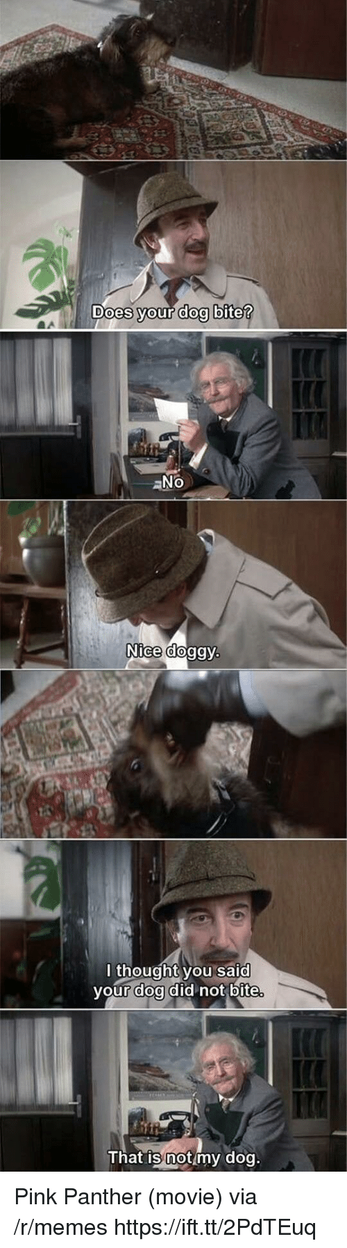 doa: oes your dog bite  Nice dog  lthought you said  vour doa did not bite  That is not my dog Pink Panther (movie) via /r/memes https://ift.tt/2PdTEuq