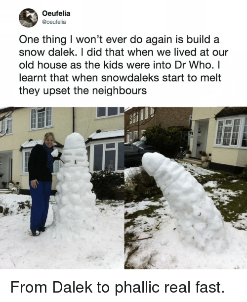 Memes, House, and Kids: Oeufelia  @oeufelia  One thing I won't ever do again is build a  snow dalek. I did that when we lived at our  old house as the kids were into Dr Who. I  earnt that when snowdaleks start to melt  they upset the neighbours From Dalek to phallic real fast.