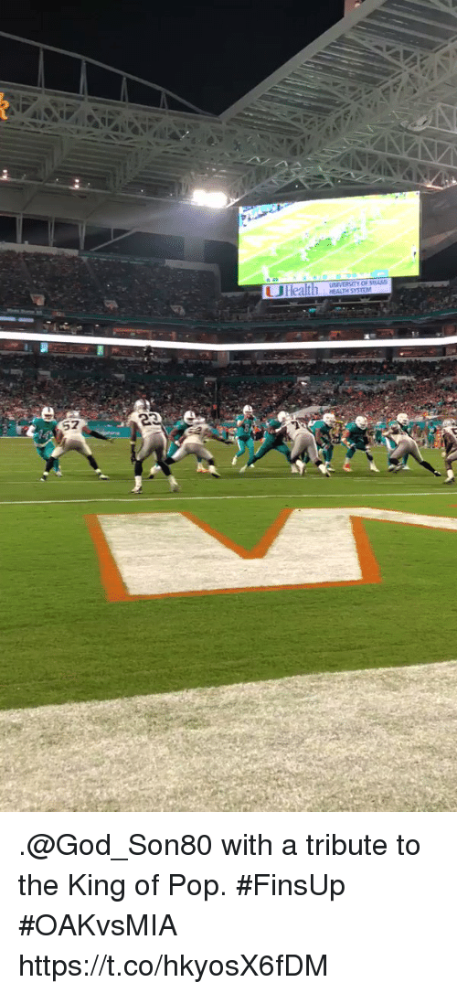 God, Memes, and Pop: OF MIAM .@God_Son80 with a tribute to the King of Pop. #FinsUp #OAKvsMIA https://t.co/hkyosX6fDM