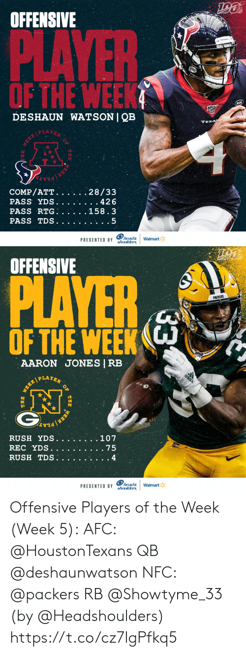watson: OFFENSIVE  NFL  PLAYER  OF THE WEEK  RCN  DESHAUN WATSON | QB  TEXA  WEEKPLAYER  COMP/ATT.  PASS YDS.  PASS RTG  PASS TDS  28/33  . 426  158.3  head&  PRESENTED BY Shoulders  Walmart  WEEK  THE  E   OFFENSIVE  PLAYER  PACKERS  OF THE WEEK  AARON JONES | RB  PLAYER  .107  RUSH YDS.  REC YDS  RUSH TDS.  . 75  4  head&  PRESENTED BY shoulders  Walmart  33  OF  THE  WERK  WEEK/  THE Offensive Players of the Week (Week 5):  AFC: @HoustonTexans QB @deshaunwatson  NFC: @packers RB @Showtyme_33   (by @Headshoulders) https://t.co/cz7lgPfkq5