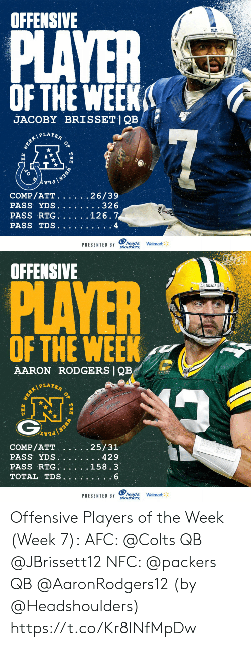 Aaron Rodgers: OFFENSIVE  PLAYER  COLTS  OF THE WEEK  JACOBY BRISSET|QB  P LAYER  7  WEEK/  COMP/ATT.  PASS YDS.  PASS RTG  PASS TDS  26/39  . .32 6  126.7  4  head&  shoulders  PRESENTED BY  Walmart  WEEK  THE  )НЕ   OFFENSIVE  PLAYER  PAUS  OF THE WEEK  AARON RODGERS QB  PLAYER  NATIONAL FOOTBALL LEAGUE  COMP/ATT  PASS YDS.  PASS RTG  TOTAL TDS  25/31  429  158.3  6  head&  shoulders  PRESENTED BY  Walmart  OF  THE  WEER/  WEEK Offensive Players of the Week (Week 7):  AFC: @Colts QB @JBrissett12 NFC: @packers QB @AaronRodgers12  (by @Headshoulders) https://t.co/Kr8INfMpDw
