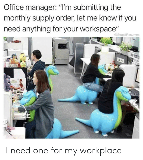 """Monthly: Office manager: """"I'm submitting the  monthly supply order, let me know if you  need anything for your workspace""""  @StupidResumes I need one for my workplace"""