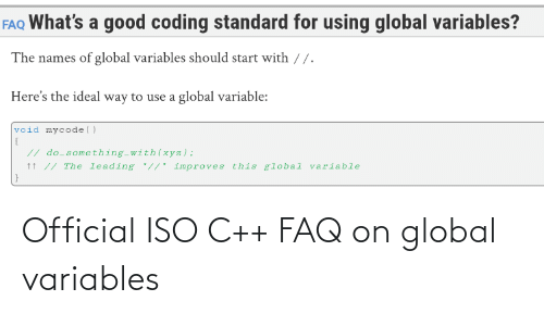 iso: Official ISO C++ FAQ on global variables
