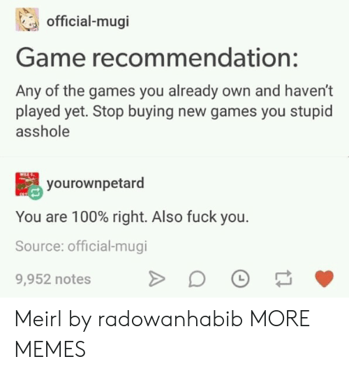 The Games: official-mugi  Game recommendation:  Any of the games you already own and haven't  played yet. Stop buying new games you stupid  asshole  yourownpetard  You are 100% right. Also fuck you.  Source: official-mugi  9,952 notes Meirl by radowanhabib MORE MEMES