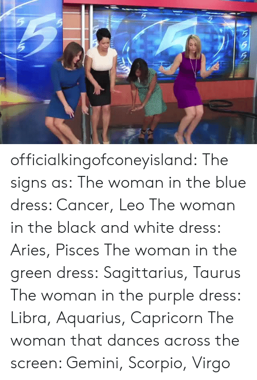Target, Tumblr, and Aquarius: officialkingofconeyisland:  The signs as: The woman in the blue dress: Cancer, Leo The woman in the black and white dress: Aries, Pisces The woman in the green dress:Sagittarius,Taurus The woman in the purple dress: Libra,Aquarius, Capricorn The woman that dances across the screen: Gemini, Scorpio, Virgo