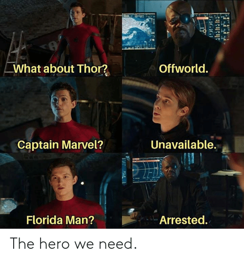 captain marvel: Offworld.  What about Thor?  Unavailable.  Captain Marvel?  Florida Man?  Arrested. The hero we need.