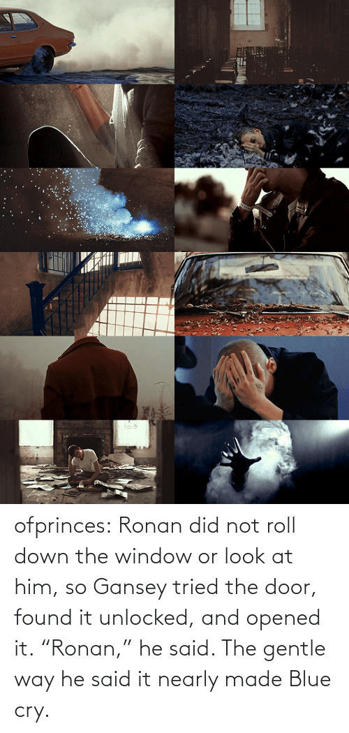 "Nearly: ofprinces: Ronan did not roll down the window or look at him, so Gansey tried the door, found it unlocked, and opened it. ""Ronan,"" he said. The gentle way he said it nearly made Blue cry."