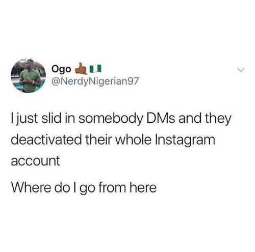 Dank, Instagram, and 🤖: Ogo  @NerdyNigerian97  just slid in somebody DMs and they  deactivated their whole Instagram  account  Where do I go from here