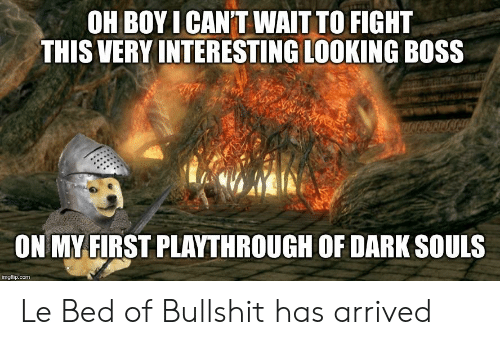 Bullshit, Dark Souls, and Fight: OH BOYICAN'T WAITTO FIGHT  THIS VERY INTERESTING LOOKING BOSS  ON MY FIRST PLAYTHROUGH OF DARK SOULS  imgflip.com Le Bed of Bullshit has arrived