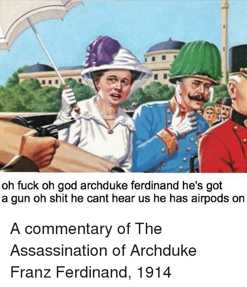Assassination, God, and Shit: oh fuck oh god archduke ferdinand he's got  a gun oh shit he cant hear us he has airpods or A commentary of The Assassination of Archduke Franz Ferdinand, 1914