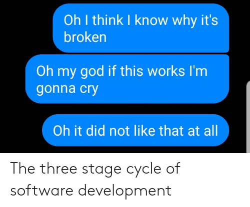 software development: Oh I think I know why it's  broken  Oh my god if this works I'm  gonna cry  Oh it did not like that at all The three stage cycle of software development