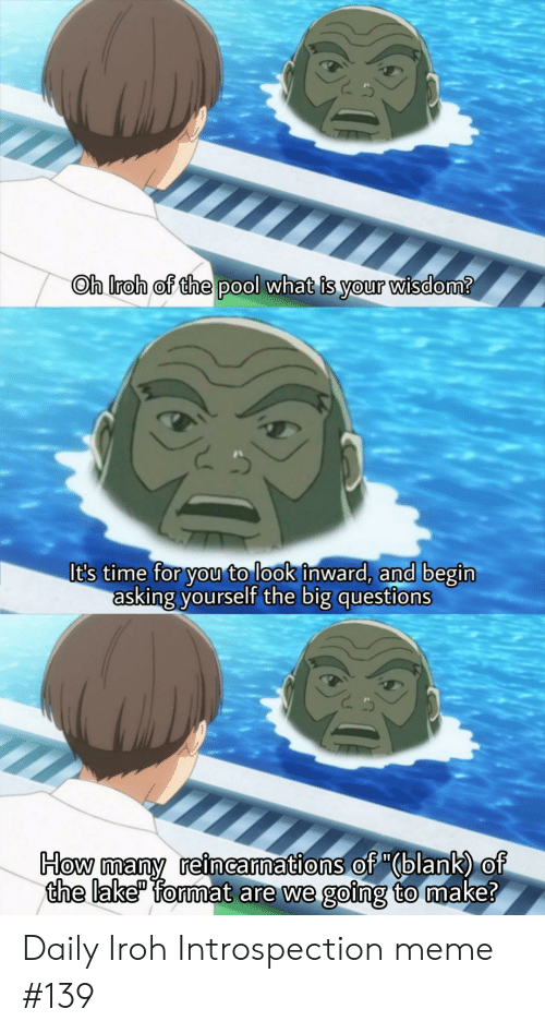 """Anime, Meme, and Pool: Oh Iroh of the pool what is your wisdom?  It's time for you to look inward, and begin  asking yourself the big questions  How many reincarnations of """"(blank) of  the lake"""" format are we going to make? Daily Iroh Introspection meme #139"""
