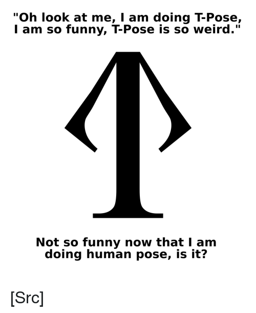 "Funny, Reddit, and Weird: ""Oh look at me, I am doing T-Pose,  l am so funny, T-Pose is so weird.""  Not so funny now that I am  doing human pose, is it? [Src]"