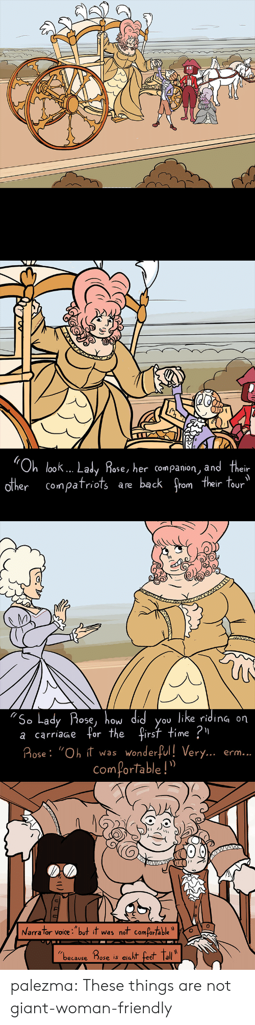 "Comfortable, Tumblr, and Blog: ""Oh look... Lady Rose, her companion, and their  other compatriots  back from their tour  a re   www  AAww  ""So Lady Rose, how did  PP.  a carriage for the first time ?1  Rose: ""Oh it was wonderful! Very... erm..  like riding on  you  comfortable!   Narrator voice: ""but it was not comfortable  ""because Pose is elaht feet tall  U I palezma:  These things are not giant-woman-friendly"
