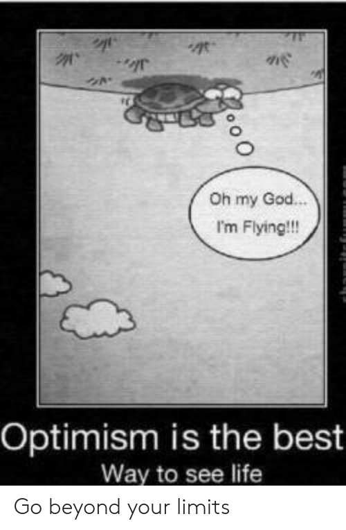 Optimism: Oh my God.  I'm Flying!!!  Optimism is the best  Way to see life Go beyond your limits