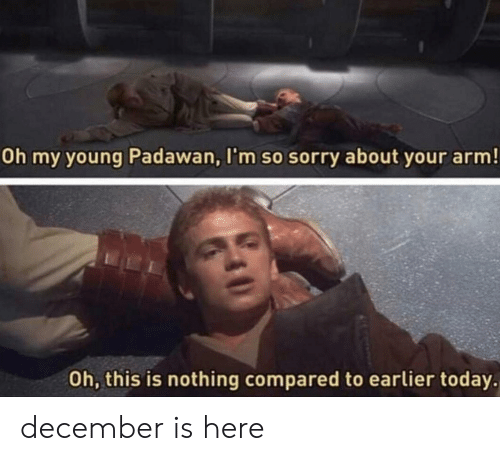 Sorry, Today, and Arm: Oh my young Padawan, I'm so sorry about your arm!  Oh, this is nothing compared to earlier today. december is here