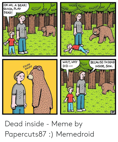 Dead Inside Meme: OH NO, A BEAR!  QUICK, PLAY  DEAD!  BUps  wwyy P u  W  WAIT, WHY  DID  SNIFF  SNIFF  BECAUSE I'MDEAD  INSIDE, SON Dead inside - Meme by Papercuts87 :) Memedroid
