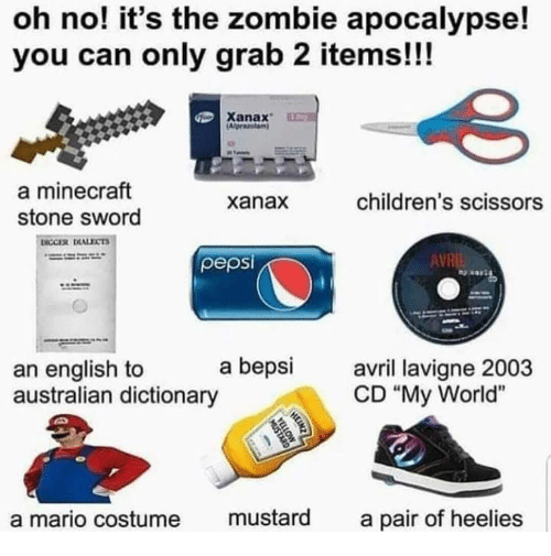 "Minecraft, Mario, and Xanax: oh no! it's the zombie apocalypse!  you can only grab 2 items!!!  Xanax  a minecraft  stone sword  xanax  children's scissors  pepsi  AVR  a bepsi avri lavigne 2003  an english to  australian dictionary  CD ""My World""  a mario costume mustard a pair of heelies"