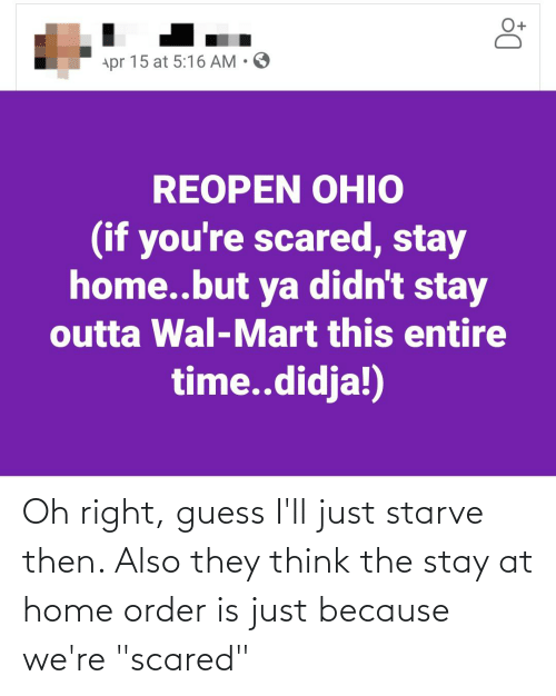 """Guess Ill: Oh right, guess I'll just starve then. Also they think the stay at home order is just because we're """"scared"""""""