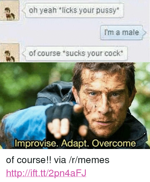 "Memes, Pussy, and Yeah: oh yeah licks your pussy  I'm a male  of course sucks your cock  Improvise. Adapt. Overcome <p>of course!! via /r/memes <a href=""http://ift.tt/2pn4aFJ"">http://ift.tt/2pn4aFJ</a></p>"