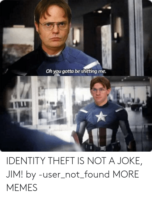 Shitting: Oh you gotta be shitting me. IDENTITY THEFT IS NOT A JOKE, JIM! by -user_not_found MORE MEMES