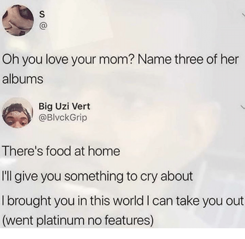 take you out: Oh you love your mom? Name three of her  albums  Big Uzi Vert  @BlvckGrip  There's food at home  I'll give you something to cry about  I brought you in this world I can take you out  (went platinum no features)
