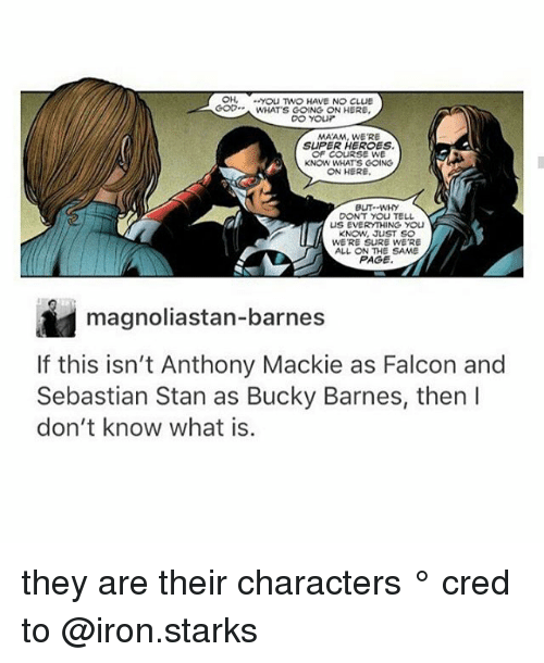 MêMes: OH, yoU TWO HAVE NO CLUE  GOWHATS GOING ON HERE  MAAM, WE'RE  SUPER HEROES  OF CoURSE WE  KNOW WHATS COING  ON HERE  BUT--WHY  DONT YOU TELL  US EVERYTHING YOU  KNOW, JUST SO  WE'RE SURE WE'RE  ALL ON THE SAME  PAGE  magnoliastan-barnes  If this isn't Anthony Mackie as Falcon and  Sebastian Stan as Bucky Barnes, then l  don't know what is.  8 they are their characters ° 《cred to @iron.starks 》