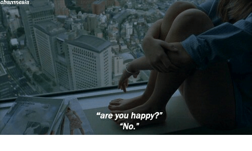 """Happy, You, and Are You: ohamnesia  """"are you happy?""""  """"No."""""""