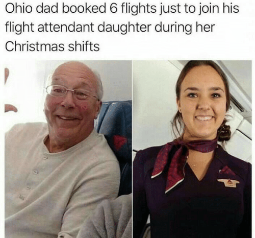 Flight: Ohio dad booked 6 flights just to join his  flight attendant daughter during her  Christmas shifts