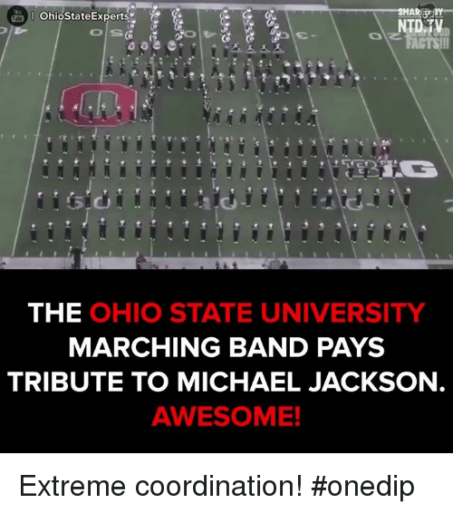 Tribution: OhiostateExperts  NTD TV  THE  OHIO STATE UNIVERSITY  MARCHING BAND PAYS  TRIBUTE TO MICHAEL JACKSON  AWESOME! Extreme coordination!  #onedip
