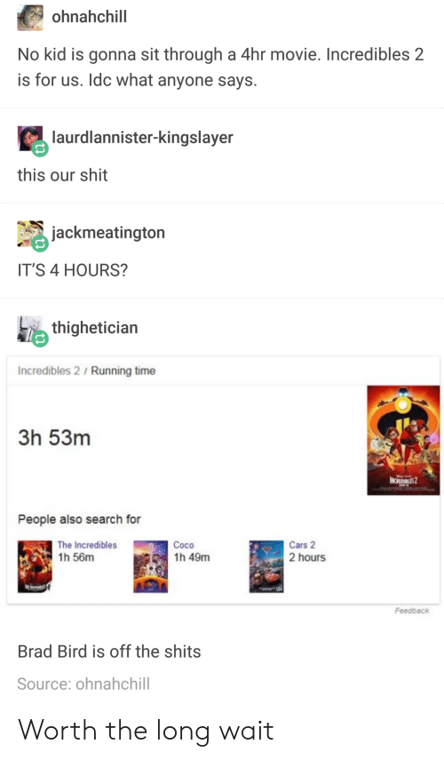 Cars, CoCo, and Shit: ohnahchill  No kid is gonna sit through a 4hr movie. Incredibles 2  is for us. Idc what anyone says.  aur  rdlannister-kingslayer  this our shit  jackmeatington  IT'S 4 HOURS?  thighetician  Incredibles 2 / Running time  3h 53m  People also search for  The Incredibles  1h 56m  Coco  1h 49m  Cars 2  2 hours  Feedback  Brad Bird is off the shits  Source: ohnahchill Worth the long wait