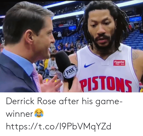 Derrick Rose, Memes, and Sports: OI00.R  arrcdou  Flagstar  FOX  FOX  Bnk  SPORTS  PISTONS Derrick Rose after his game-winner😂 https://t.co/I9PbVMqYZd