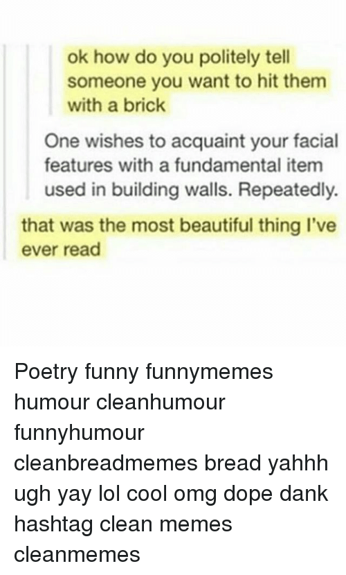 the most beautiful thing ive ever: ok how do you politely tell  someone you want to hit them  with a brick  One wishes to acquaint your facial  features with a fundamental item  used in building walls. Repeatedly.  that was the most beautiful thing I've  ever read Poetry funny funnymemes humour cleanhumour funnyhumour cleanbreadmemes bread yahhh ugh yay lol cool omg dope dank hashtag clean memes cleanmemes
