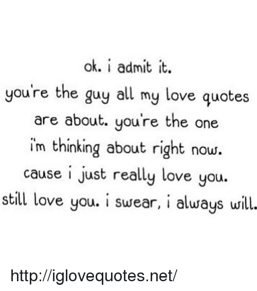 I Admit It: ok. i admit it.  you're the guy all my love quotes  are about. you're the one  im thinking about right now.  cause i just really love you.  still love you. i susear, i alusays will. http://iglovequotes.net/