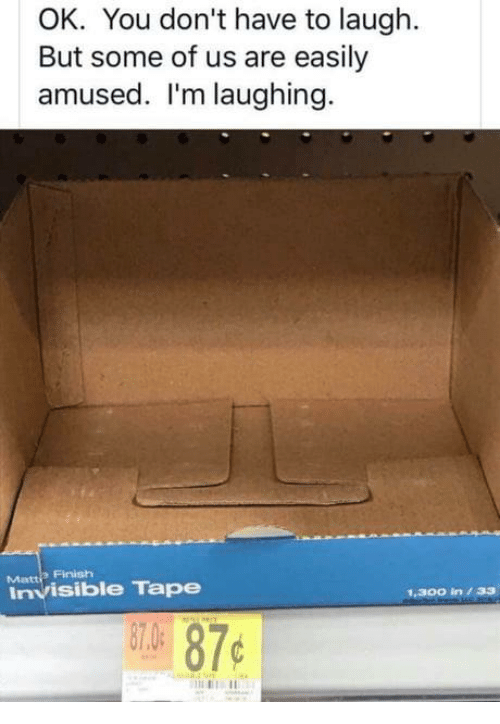 Easily Amused: OK. You don't have to laugh.  But some of us are easily  amused. I'm laughing.  Finish  Matti  Invisible Tape  1.300 in33  07.0  87