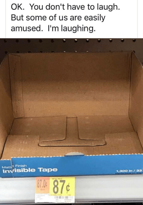 You, Tape, and Matte: OK. You don't have to laugh.  But some of us are easily  amused. I'm laughing.  Matte Finish  Invisible Tape  1,300 in /33  6NTch v C201  87.4 87¢  TEPRCE  S E