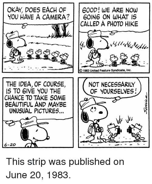 Not Necessarily: OKAY, DOES EACH OF 600D! WE ARE NOw  YOU HAVE A CAMERA? 60ING ON WHAT IS  CALLED A PHOTO HIKE  1983 United Feature Syndicate, Inc.  THE IDEA, OF COURSE,  IS TO 6IVE YOU THE  CHANCE TO TAKE SOME  BEAUTIFUL AND MAYBE  UNUSUAL PICTURES.  NOT NECESSARILY  OF YOURSELVES!  6-200 This strip was published on June 20, 1983.