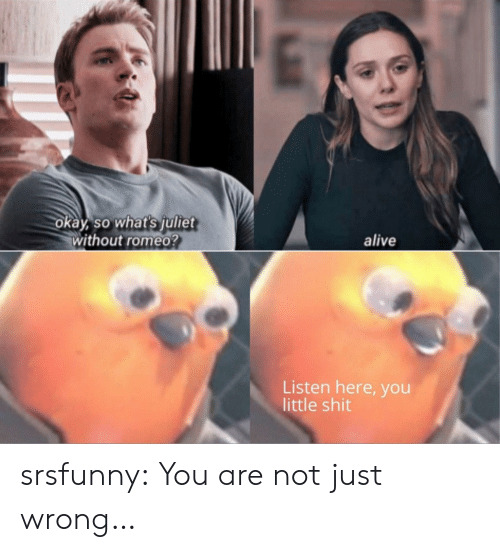 Alive, Shit, and Tumblr: okay, so what's julitet  without romeo?  alive  Listen here, you  little shit srsfunny:  You are not just wrong…